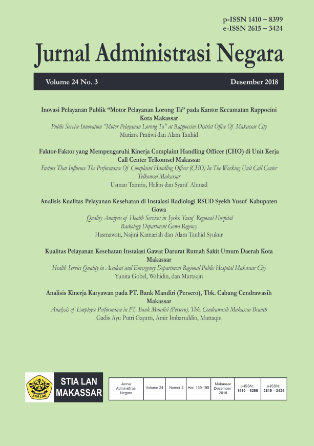 View Vol. 24 No. 3 (2018): Jurnal Administrasi Negara