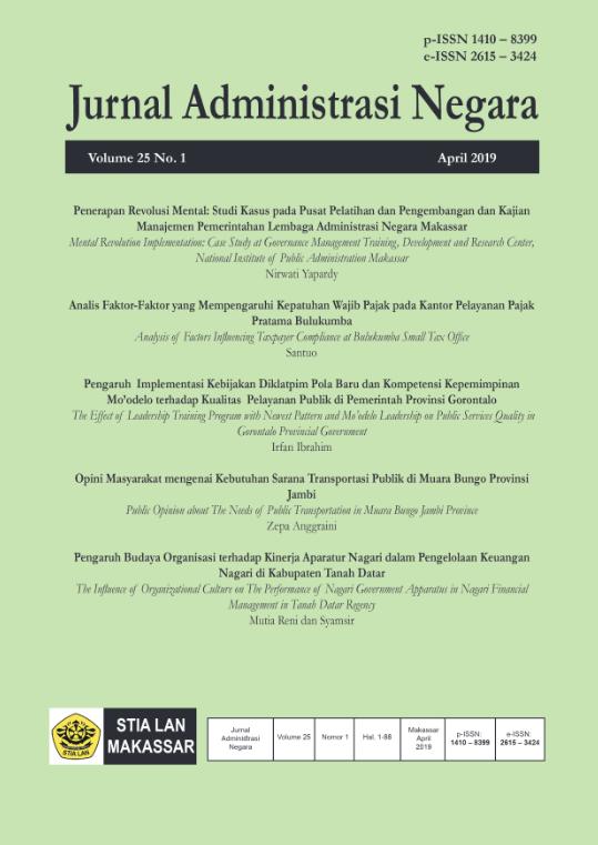 View Vol. 25 No. 1 (2019): Jurnal Administrasi Negara