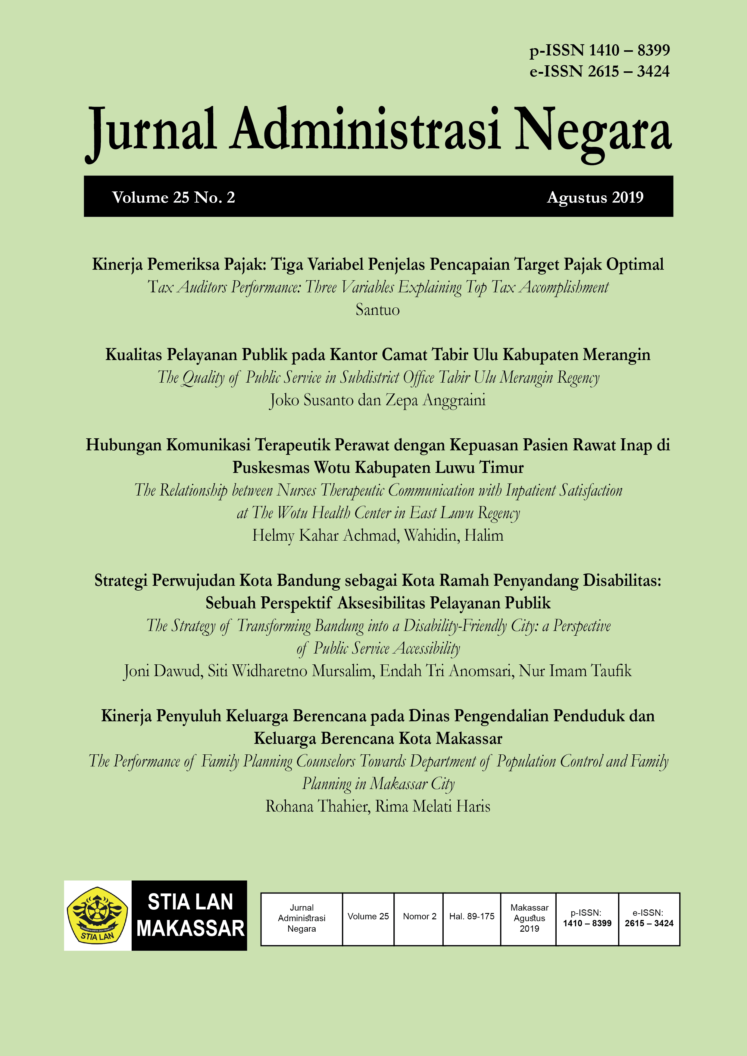 View Vol. 25 No. 2 (2019): Jurnal Administrasi Negara