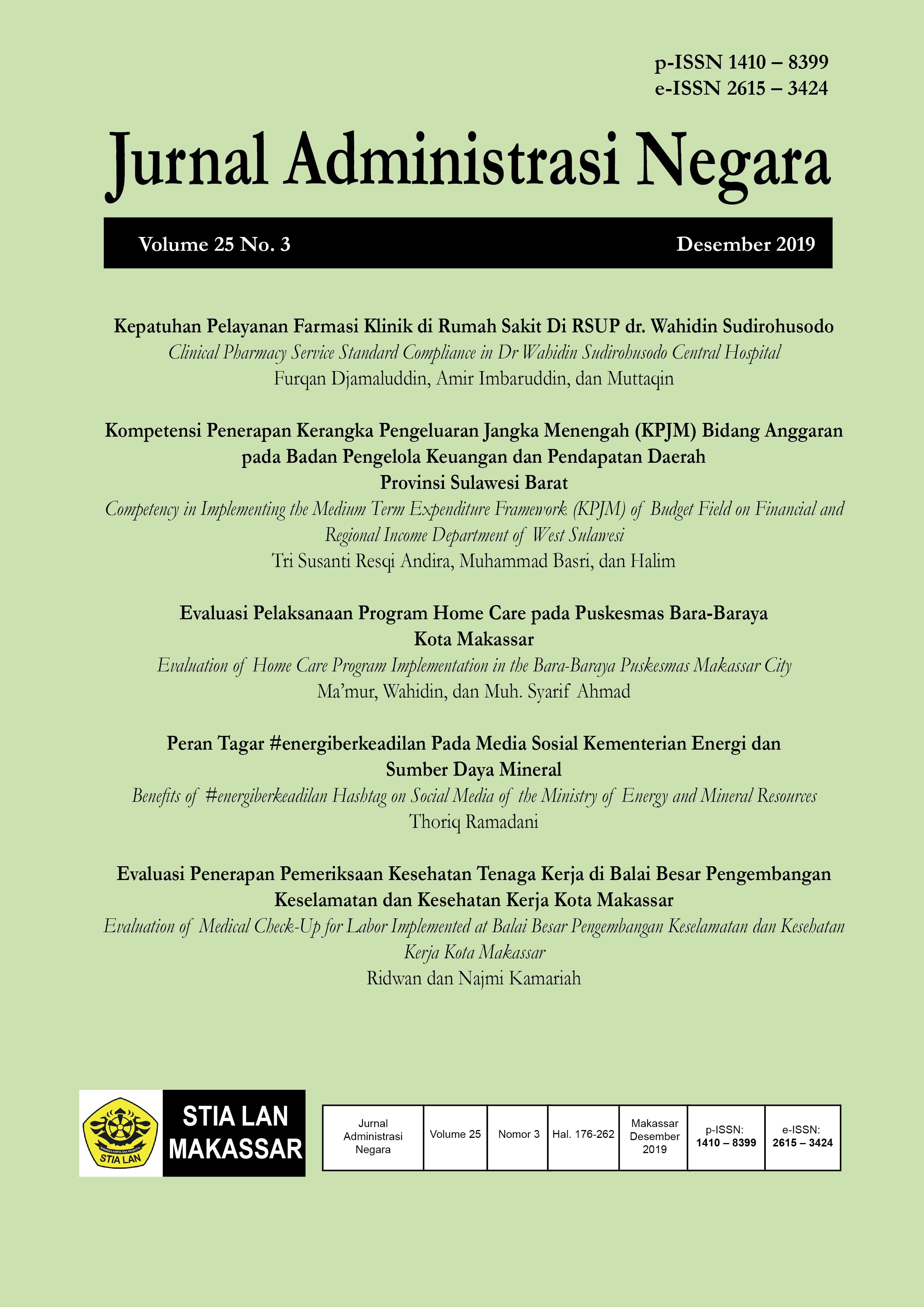 View Vol. 25 No. 3 (2019): Jurnal Administrasi Negara