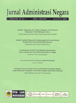View Vol. 20 No. 2 (2014): Jurnal Administrasi Negara