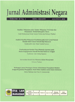 View Vol. 20 No. 3 (2014): Jurnal Administrasi Negara