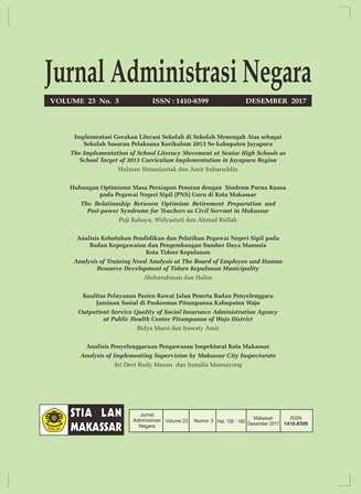 View Vol. 23 No. 3 (2017): Jurnal Administrasi Negara